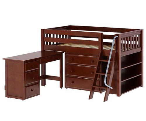 Maxtrix KICKS Low Loft Bed w/ Storage & Desk Twin Size Chestnut   Maxtrix Furniture   MX-KICKS3L-CX