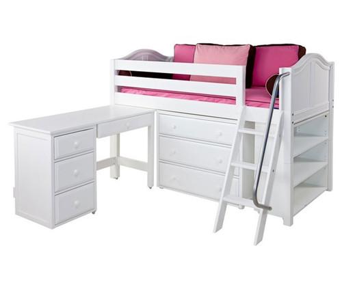 Maxtrix KICKS Low Loft Bed w/ Storage & Desk Twin Size White | Maxtrix Furniture | MX-KICKS3L-WX