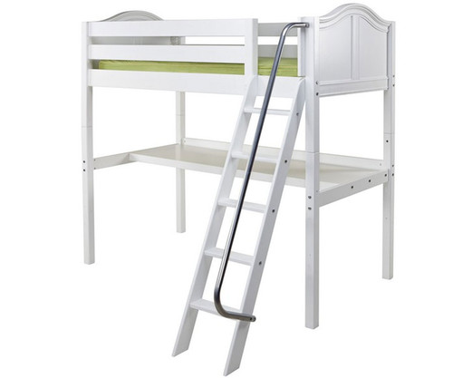 Maxtrix KNOCKOUT High Loft Bed with Desk Twin Size White   Maxtrix Furniture   MX-KNOCKOUT1-WX