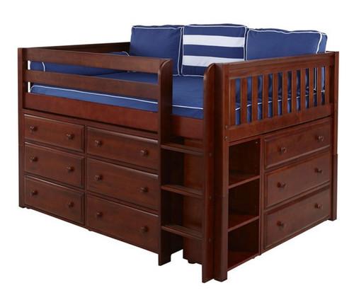 Maxtrix LARGE Low Loft Bed w/ Dressers Full Size Chestnut | Maxtrix Furniture | MX-LARGE3-CX