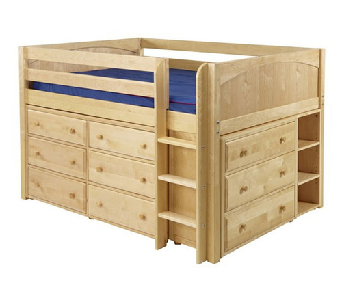 Maxtrix LARGE Low Loft Bed w/ Dressers Full Size Natural | Maxtrix Furniture | MX-LARGE3-NX