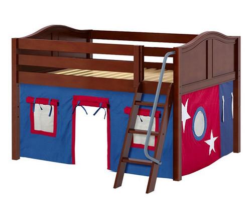 Maxtrix MANSION Low Loft Bed with Curtains Full Size Chestnut | Maxtrix Furniture | MX-MANSION21-CX