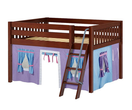 Maxtrix MANSION Low Loft Bed with Curtains Full Size Chestnut 6 | Maxtrix Furniture | MX-MANSION27-CX