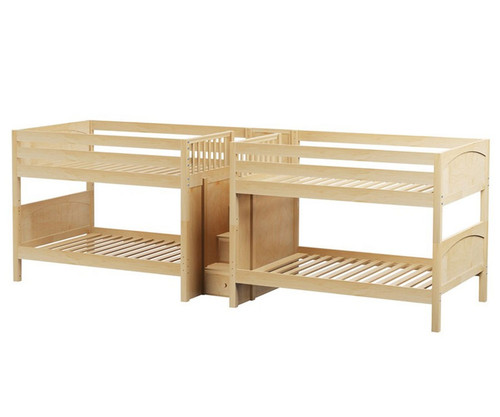 Maxtrix MEGA Quadruple Low Bunk Bed with Stairs Full Size Natural | Maxtrix Furniture | MX-MEGA-NX