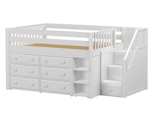 Maxtrix PERFECT Storage Low Loft Bed with Stairs Full Size White | Maxtrix Furniture | MX-PERFECT1-WX