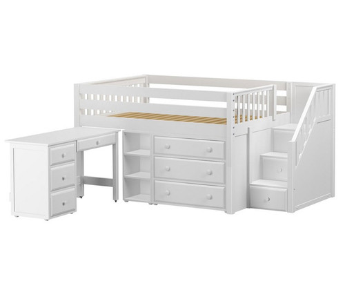 Maxtrix PERFECT Storage Low Loft Bed with Stairs & Desk Full Size White | Maxtrix Furniture | MX-PERFECT2L-WX