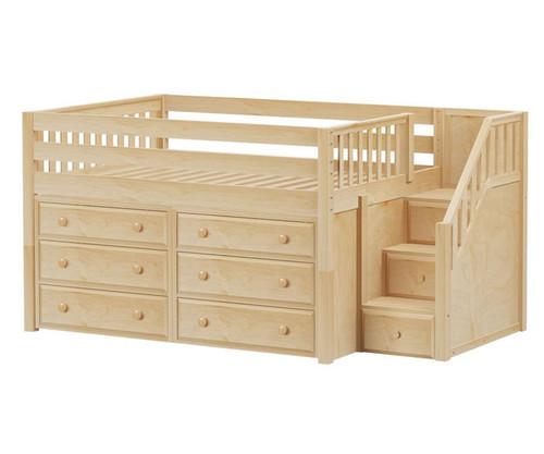 Maxtrix PERFECT Storage Low Loft Bed with Stairs Full Size Natural 1 | Maxtrix Furniture | MX-PERFECT3-NX