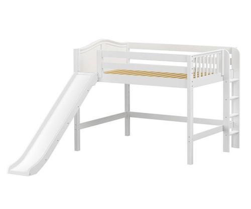 Maxtrix PRETTY Mid Loft Bed with Slide Full Size White | Maxtrix Furniture | MX-PRETTY-WX