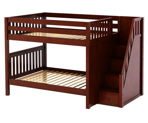 Maxtrix QUASAR Medium Bunk Bed with Stairs Full Size Chestnut | Maxtrix Furniture | MX-QUASAR-CX