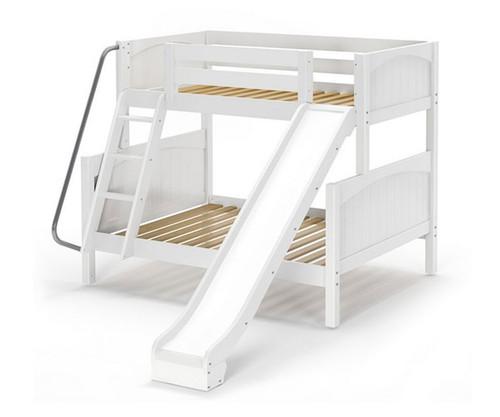 Maxtrix SLICK Bunk Bed w/ Slide Twin over Full Size White | Maxtrix Furniture | MX-SLICK-WX