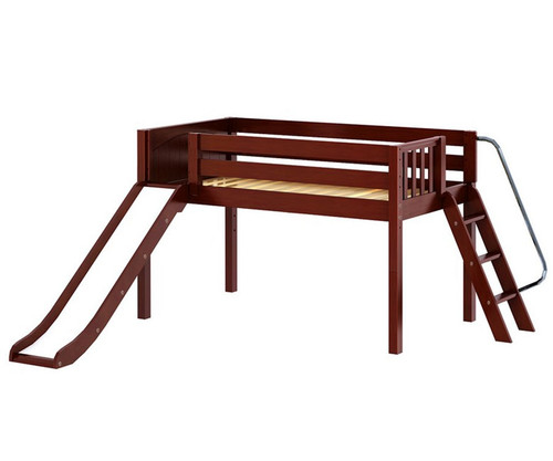 Maxtrix SMART Low Loft Bed with Slide Twin Size Chestnut | Maxtrix Furniture | MX-SMART-CX