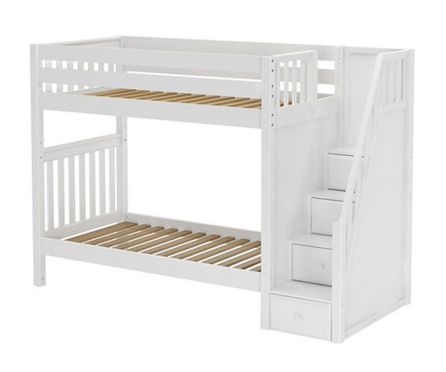 Maxtrix STELLAR Medium Bunk Bed with Stairs Twin Size White | Maxtrix Furniture | MX-STELLAR-WX