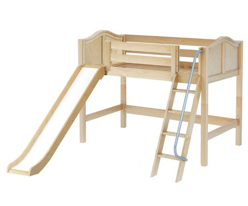 Maxtrix SWEET Mid Loft Bed with Slide Twin Size Natural | Maxtrix Furniture | MX-SWEET-NX