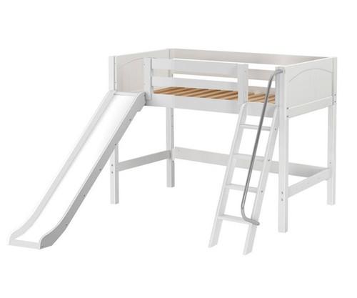 Maxtrix SWEET Mid Loft Bed with Slide Twin Size White   Maxtrix Furniture   MX-SWEET-WX