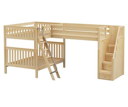 Maxtrix TRIAD Corner Loft Bunk Bed with Stairs Full Size Natural | Maxtrix Furniture | MX-TRIAD-NX