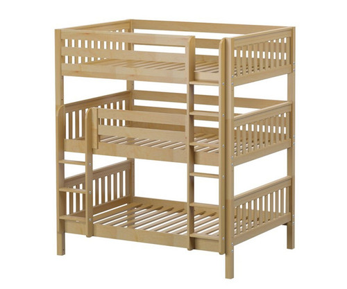 Maxtrix TRIPLEX Triple Bunk Bed Full Size Natural | Maxtrix Furniture | MX-TRIPLEX-NX