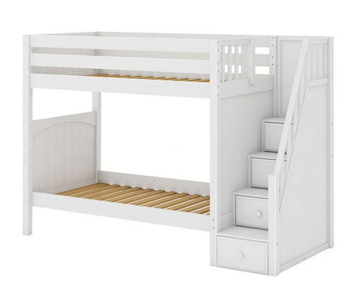 Maxtrix WOPPER High Bunk Bed with Stairs Twin Size White | Maxtrix Furniture | MX-WOPPER-WX