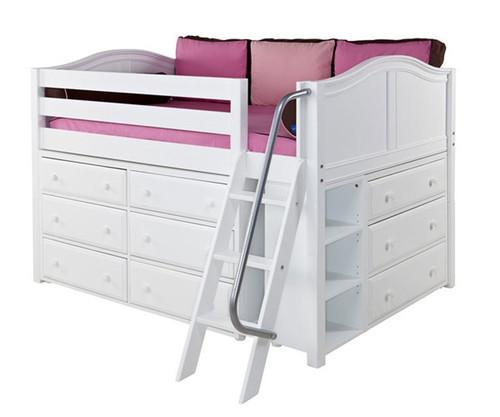 Maxtrix XL Low Loft Bed w/ Dressers Full Size White | Maxtrix Furniture | MX-XL3-WX