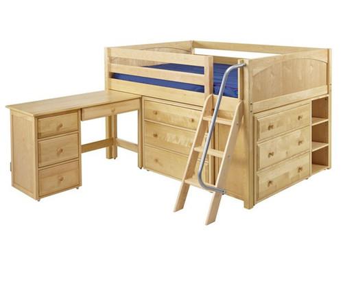 Maxtrix XL Low Loft Bed w/ Dressers & Desk Full Size Natural | Maxtrix Furniture | MX-XL4L-NX