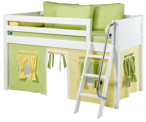 Maxtrix Low Loft Bed White with Angled Ladder and Curtains 2 | Maxtrix Furniture | MXEASYRIDER24W