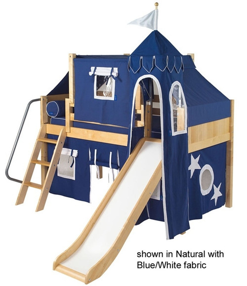Maxtrix Low Loft Bed Natural with Curtains, Slide, Tower & Tent 1   Matrix Furniture   MXWOW22N
