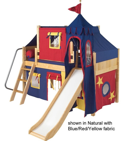 Maxtrix Low Loft Bed Natural with Curtains, Slide, Tower & Tent 2 | Matrix Furniture | MXWOW29N