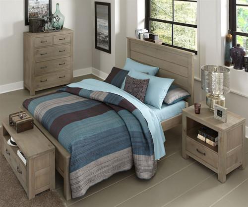 Everglades Alex Panel Bed Full Size Driftwood   NE Kids Furniture   NE10025