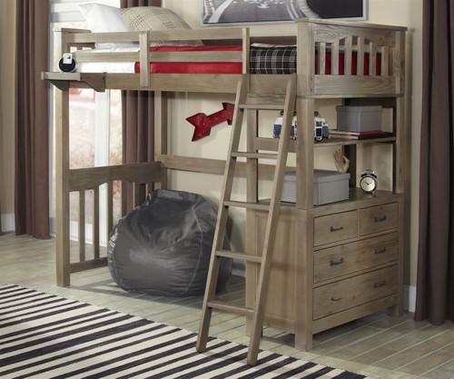 Everglades Loft Bed Twin Size Driftwood | NE Kids Furniture | NE10070