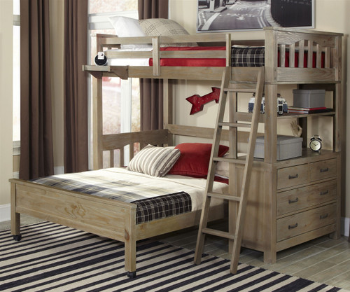 Everglades Loft Bed with Full Size Lower Bed Driftwood | NE Kids Furniture | NE10070-LWB
