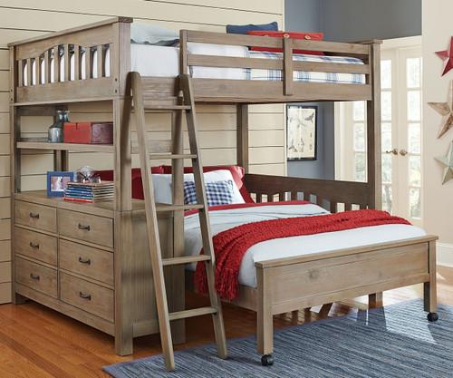 Everglades Loft Bed Full Size with Full Size Lower Bed Driftwood | NE Kids Furniture | NE10080-LWB