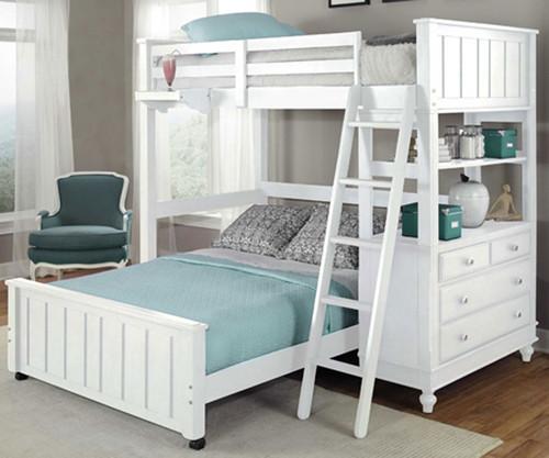 Lakehouse Loft Bed with Full Size Lower Bed White | NE Kids | NE1040-LWB