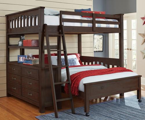 Everglades Loft Bed Full Size with Full Size Lower Bed Espresso | NE Kids Furniture | NE11080-LWB