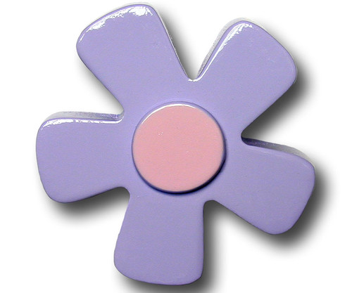 Pastel Purple Daisy Drawer Pull   One World   OW-DP536