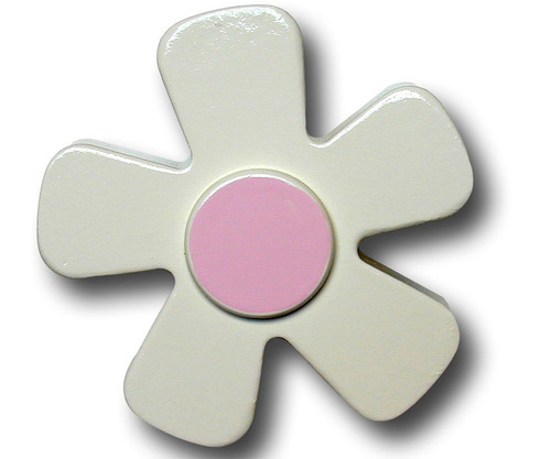 Pastel White Daisy Drawer Pull 1 | One World | OW-DP583
