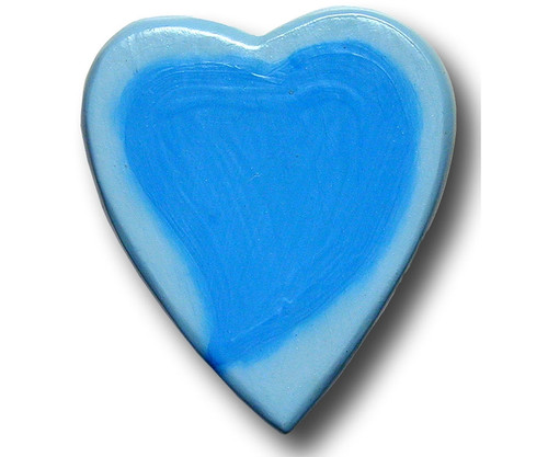 Blue Water Color Heart Drawer Pull | One World | OW-Heart-BWC
