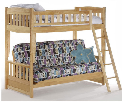 Spice Twin over Futon Bunk Bed Natural   New Energy Furniture   SPICE-FB-N