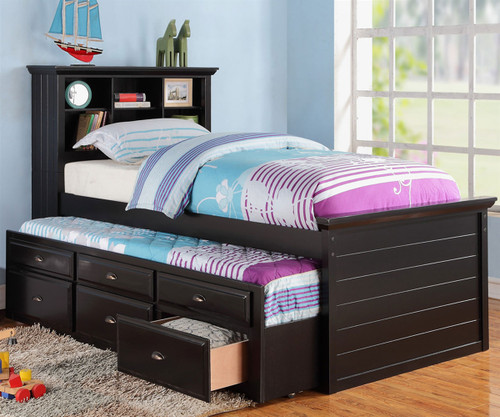 Sussex Twin Size Bookcase Captains Trundle Bed Black | Poundex Furniture | UF-F9219