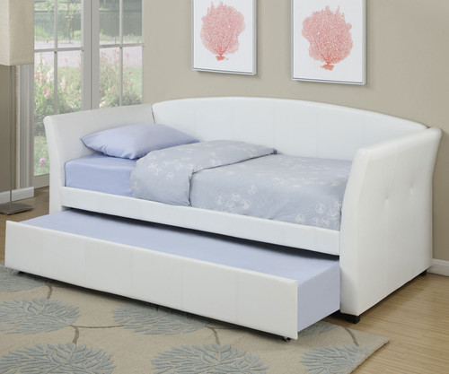 Moderna Daybed with Trundle White | Poundex | UF-F9259