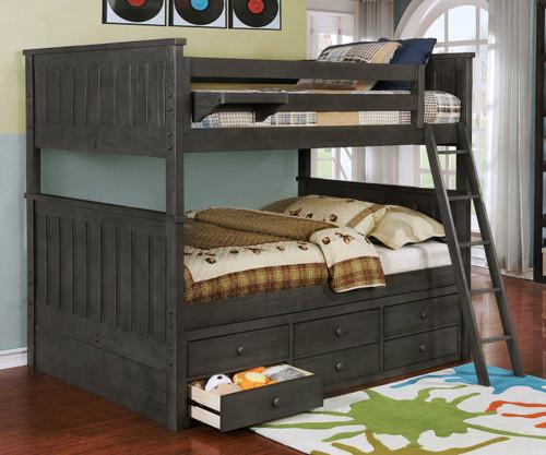 Allen House Brandon Full over Full Bunk Bed Weathered Dark Gray
