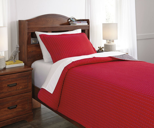 Maddis Bedding Set Red Twin Size