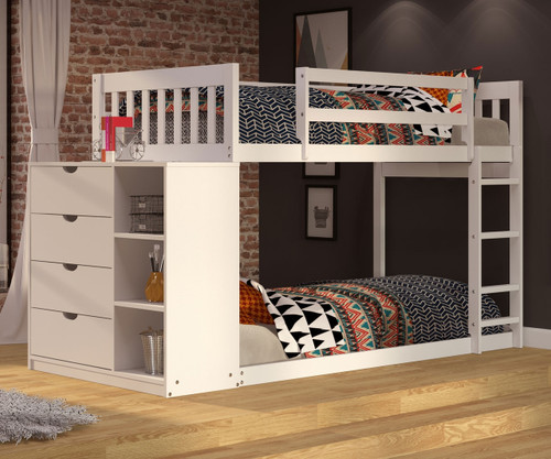 """Wiley Low Bunk Bed with Chest White 54""""H"""