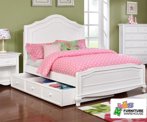 Cassie Panel Bed with Trundle Twin Size White