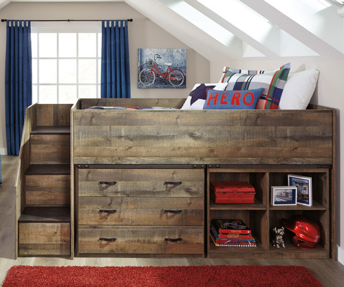 Trinell Low Loft Bed with Dresser and Bookcase