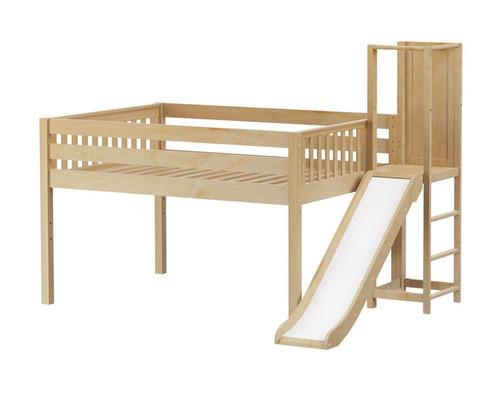 Maxtrix SIM Low Loft Bed with Slide Platform Full Size Natural