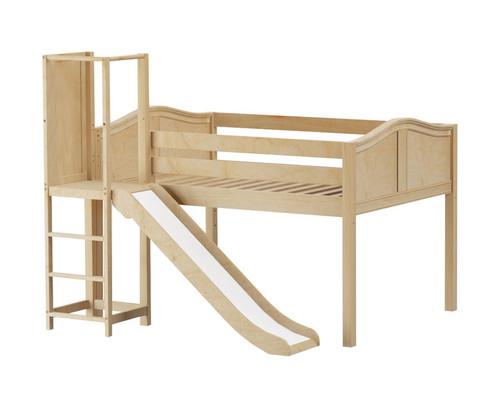Maxtrix SALABIM Low Loft Bed with Slide Platform Full Size Natural