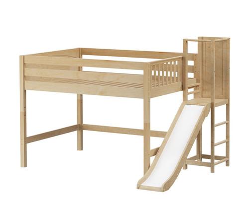 Maxtrix NICHE Mid Loft Bed with Slide Platform Full Size Natural