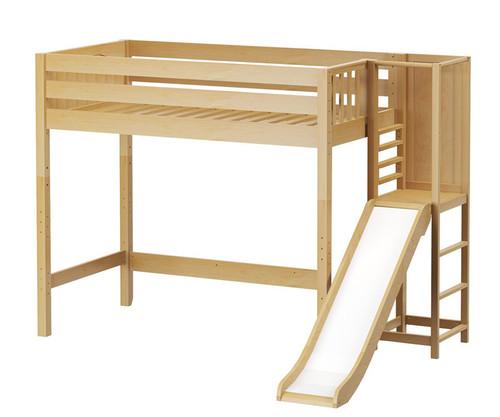 Maxtrix FILIOCUS High Loft Bed with Slide Platform Twin Size Natural