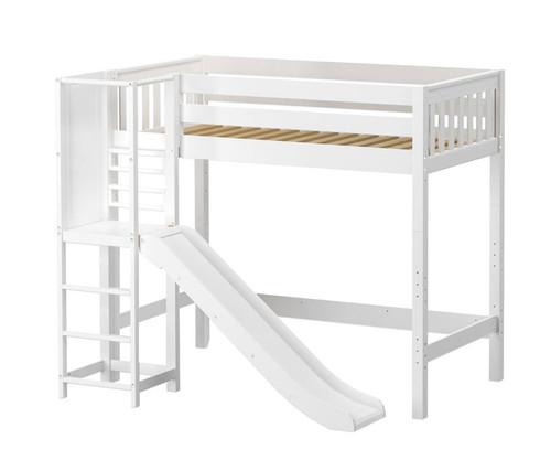 Maxtrix FILIHANKAT High Loft Bed with Slide Platform Twin Size White