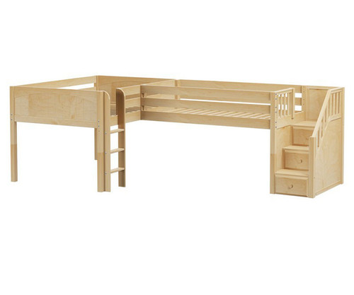 Maxtrix COUPLET Corner Low Loft Bed Full Size Natural