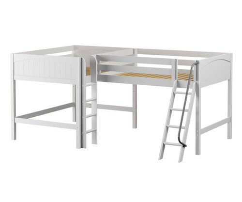 Maxtrix BOTH Corner Mid Loft Bed Full Size White